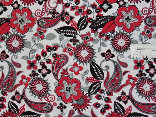 BLACK WHITE & RED Paisley